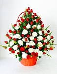 Red And White Roses Flower Basket