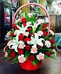 Red Roses Pink Carnations Lilies Flower Basket
