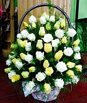 White And Yellow Roses Funeral Flower Basket