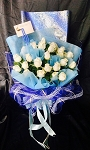 Florist's Special White And Blue Bouquet