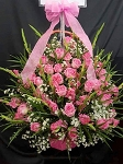 Pink Roses And Gladiolus Basket