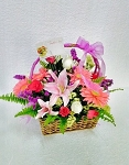 Lilies And Daisies Flower Basket