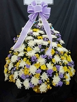 Lavender White And Yellow Chrysanthemum Basket