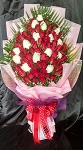 100 Red And White Fresh Roses Hand Bouquet