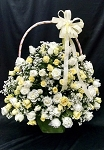 White And Yellow Roses Flower Basket