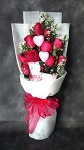 Special 12 Red Roses 2 Hearts Bouquet