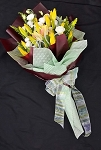 Bright Yellow Lilies And White Roses Bouquet