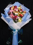 Blue Bouquet With Assorted Flowers
