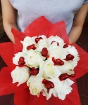 White Roses And Hearts Bouquet - Medium