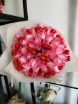 Pink Roses And Hearts Bouquet