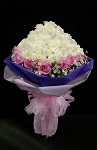 White and Pink Roses Snow Cone Bouquet with Pink and Purple mesh