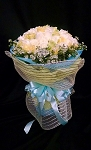 White and Yellow Roses Snow Cone Bouquet with Blue and Yellow mesh