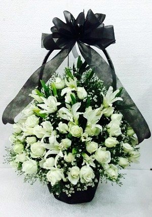 White Roses And Lilies Funeral Flower Basket