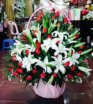 Red Roses And Lilies Flower Basket