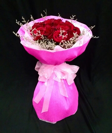 Mini Pink Bouquet With Red Roses